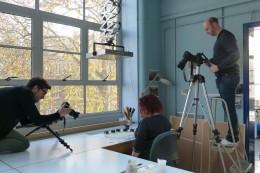 Conservator Hilary Ordman preparing to be filmed for Journeys in Archive Conservation